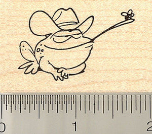 Western Frog with Fly Rubber Stamp