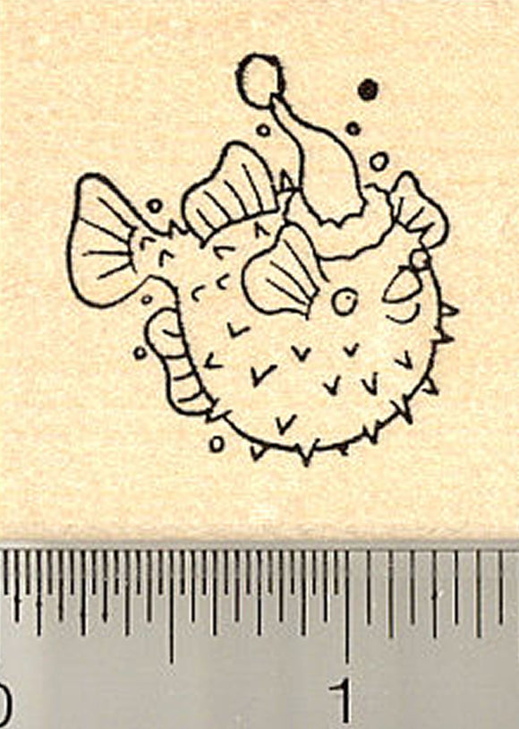 Blowfish with Santa Hat Rubber Stamp