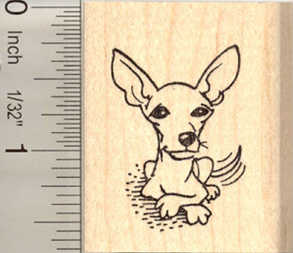 Tail Wagging Chihuahua Rubber Stamp