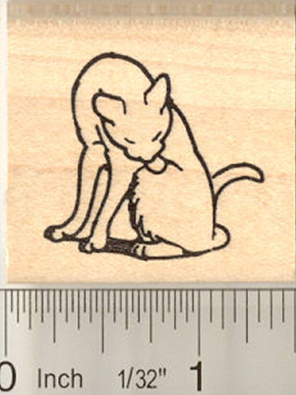 Cat Grooming Rubber Stamp