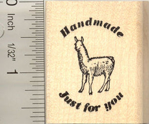 Handmade Just for You Llama Rubber Stamp