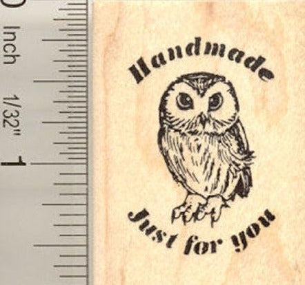 Handmade Just for You Owl Rubber Stamp
