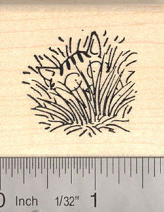 Cat in tall Grass Rubber Stamp