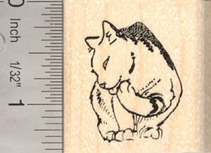 Grooming Cat Rubber Stamp