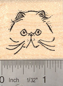 Persian Cat Face Rubber Stamp