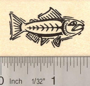 Alaskan Salmon Fish Rubber Stamp