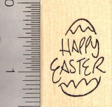 Happy Easter Egg Rubber Stamp