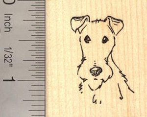 Fox Terrier Face Rubber Stamp