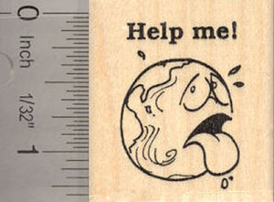 Help me! Sick Earth Rubber Stamp