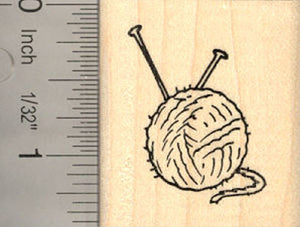 Alpaca Yarn Ball Rubber Stamp