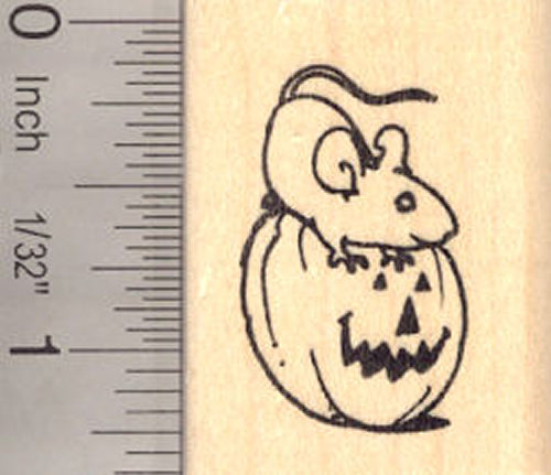 Rat on Jack-O-Lantern, Halloween Rubber Stamp