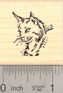 Small Lynx Wildcat Portrait Rubber Stamp