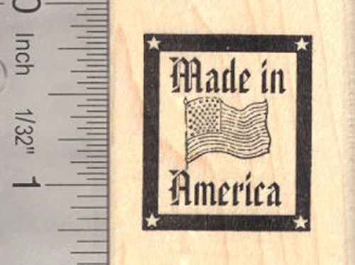 Made in America Flag Rubber Stamp, USA