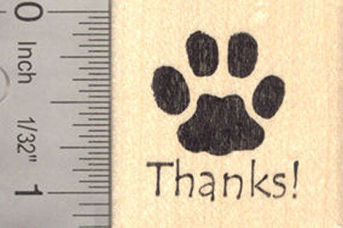 Thank you Paw Print Rubber Stamp