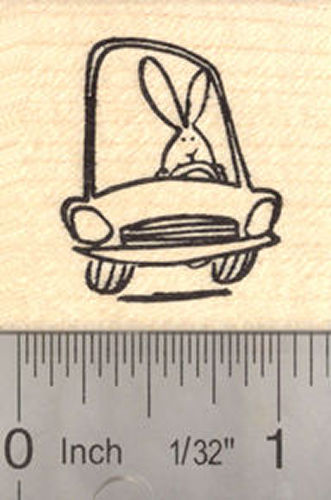 Bunny Driving a Car Rubber Stamp, Easter