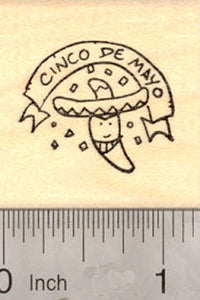 Cinco De Mayo Hot Pepper in Sombrero Rubber Stamp