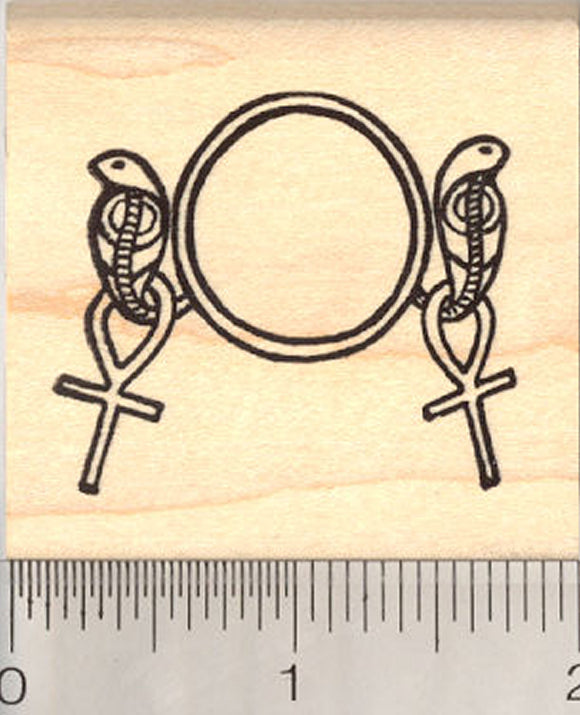 Egyptian Cobra Ankh Rubber Stamp, Sun Disk, Pharaoh Uraei