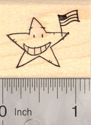 4th of July Star with American Flag Rubber Stamp (fourth of July, July 4th)