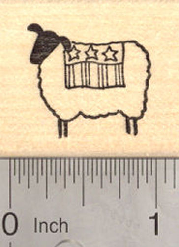 4th of July Lamb Rubber Stamp, Sheep with Flag (fourth of July, July 4th)