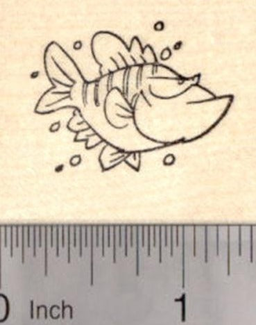 Grumpy Fish Rubber Stamp