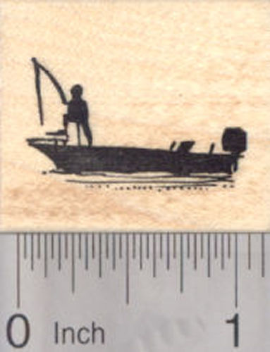 Bass Fishing Boat Rubber Stamp, Sport fishing Silhouette