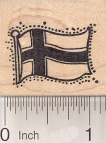 Flag of Norway Rubber Stamp, Norwegian Flag, White-Fimbriated Blue Nordic Cross on