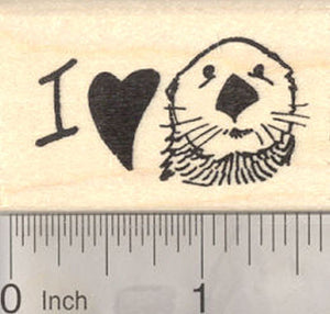 I love Sea Otters Rubber Stamp, heart stamp