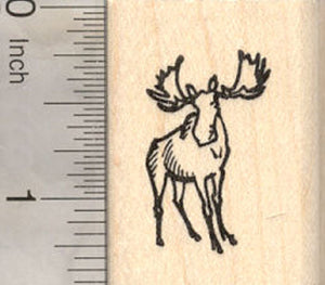 Tiny Moose Rubber Stamp, North American moose, Eurasian Elk
