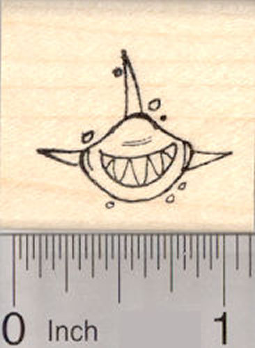 Small Grinning Shark Rubber Stamp