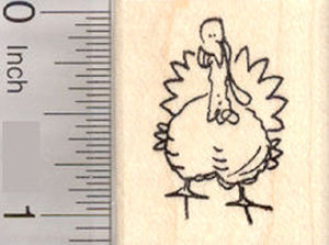 Small Grinning Turkey Rubber Stamp, Thanksgiving