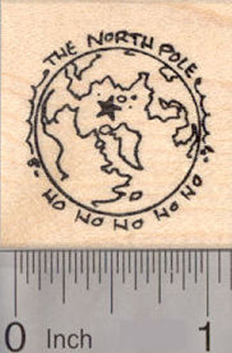 The North Pole, Christmas Rubber Stamp