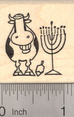 Hanukkah Grinning Cow with Menorah and Dreidel Rubber Stamp, Chanukah Festival of Lights