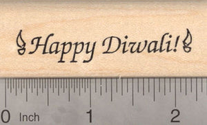 Happy Diwali Rubber Stamp, Devali Deepavali, Hindu Festival of Lights