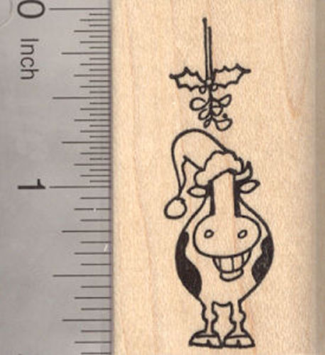 Christmas Grinning Cow with Mistletoe and Santa Hat Rubber Stamp