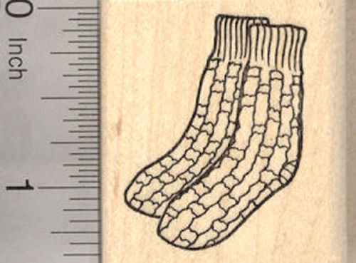 Hand Knit Pair of Socks Rubber Stamp