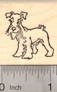 Miniature Schnauzer Dog with Natural Ears Rubber Stamp