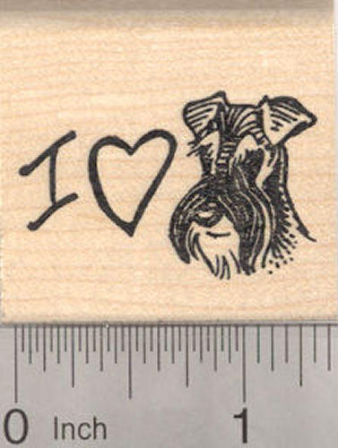 I love my Schnauzer (with Natural Ears) Rubber Stamp