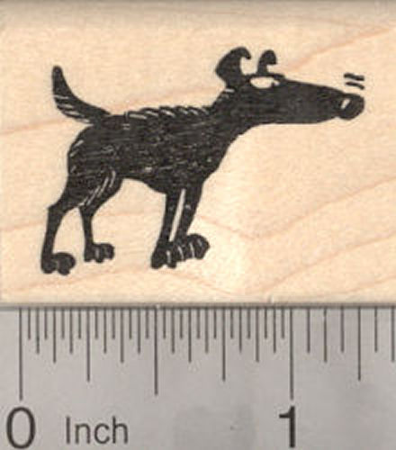 Dog Silhouette with Super Sniffer Rubber Stamp