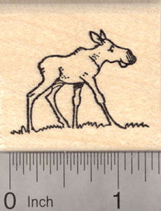 Small Moose Calf Rubber Stamp