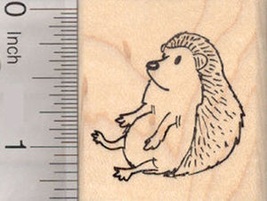 Sitting Hedgehog Rubber Stamp