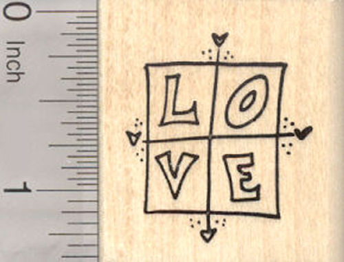 Valentine's Day Love Rubber Stamp