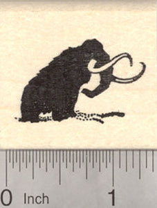Woolly Mammoth Rubber Stamp Silhouette, Prehistoric Extinct Mammuthus