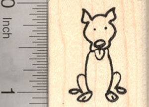 Pitbull Dog Stick Figure Rubber Stamp