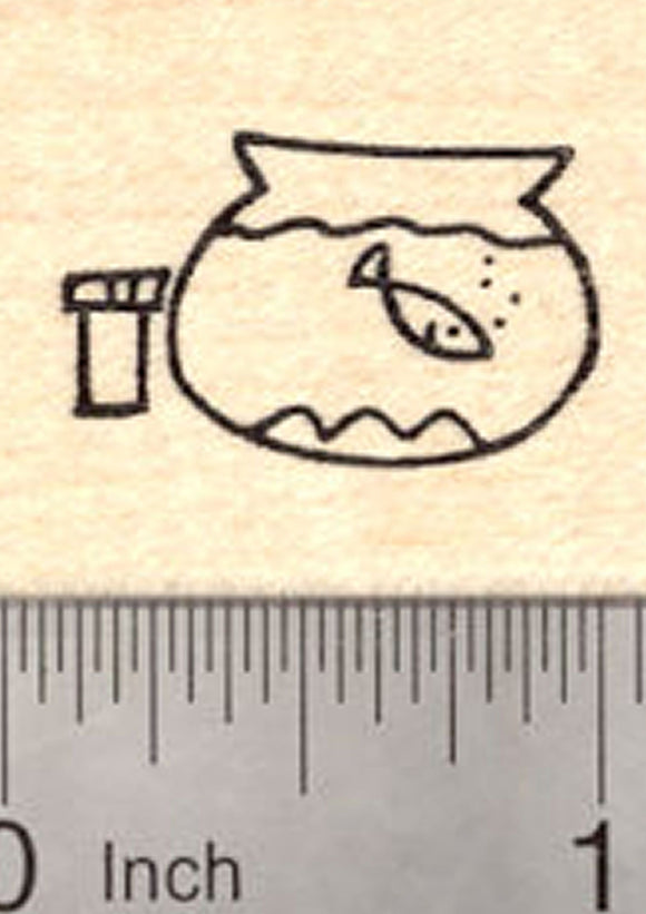 Fish Bowl Stick Figure Rubber Stamp