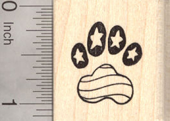 4th of July Paw Print Rubber Stamp, Patriotic American Dog, Cat