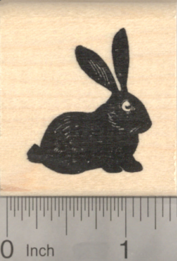 Black Bunny Rabbit Rubber Stamp