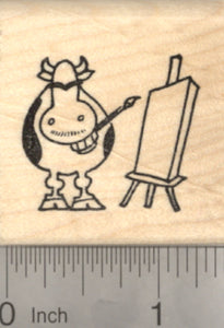 Frida Cowlo Rubber Stamp, Grinning Cow, Tribute to Kahlo de Rivera, Mexican Painter