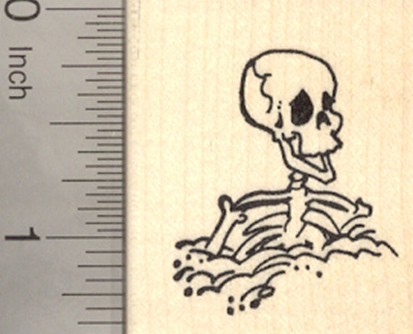 Halloween Skeleton Rubber Stamp, Buried up to Chest, Día de Muertos