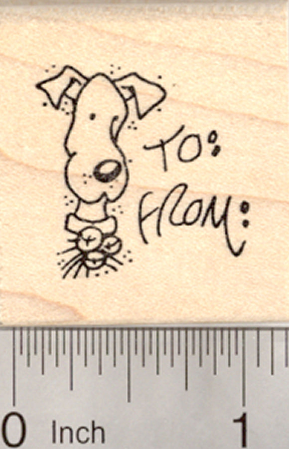 Dog Christmas Gift Tag Rubber Stamp, with Space for Names