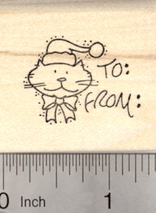 Cat Christmas Gift Tag Rubber Stamp, with Space for Names